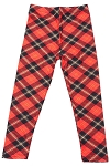 Red Plaid Print Kids Leggings